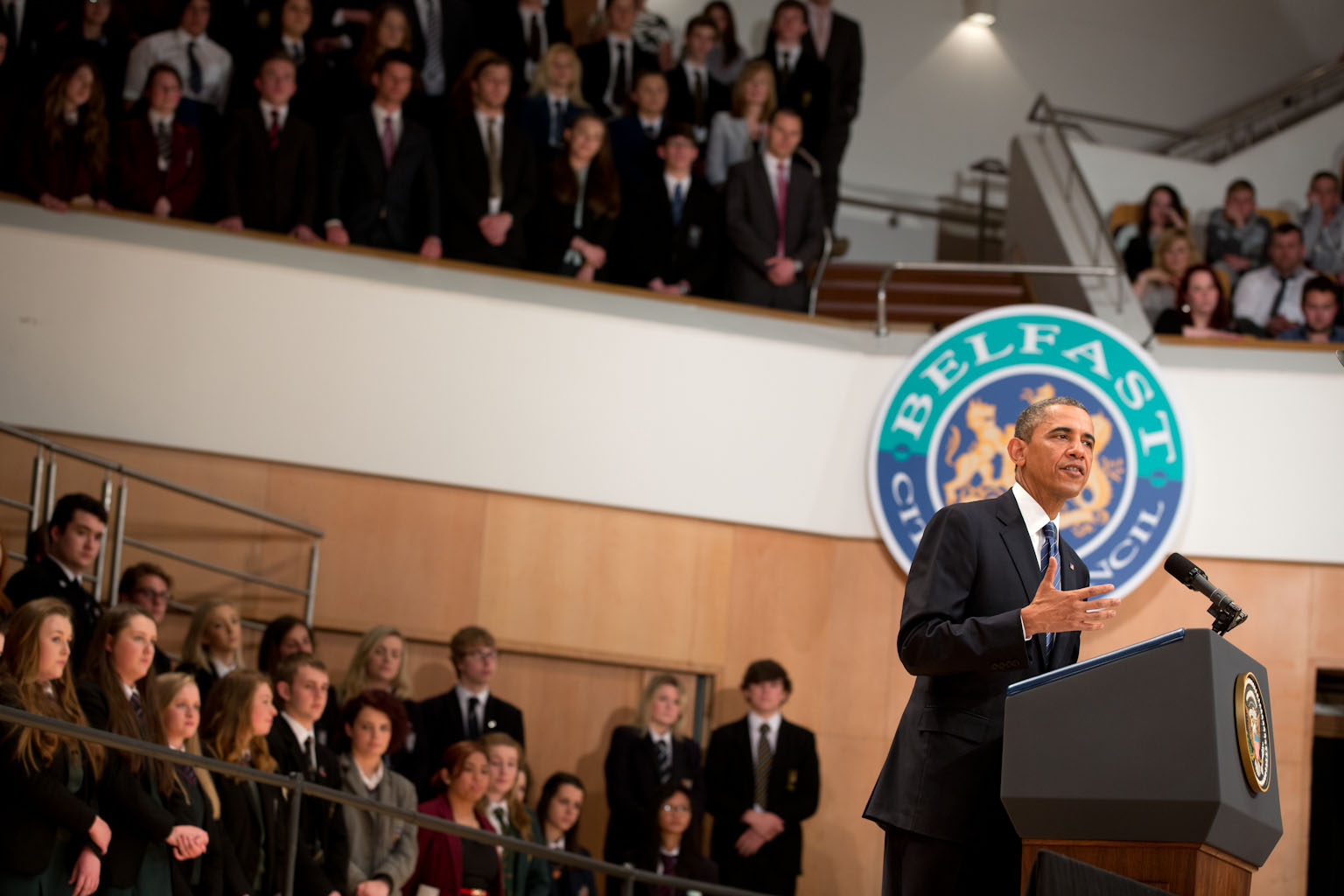 President Barack Obama delivers remarks at the Belfast Waterfront Convention Center