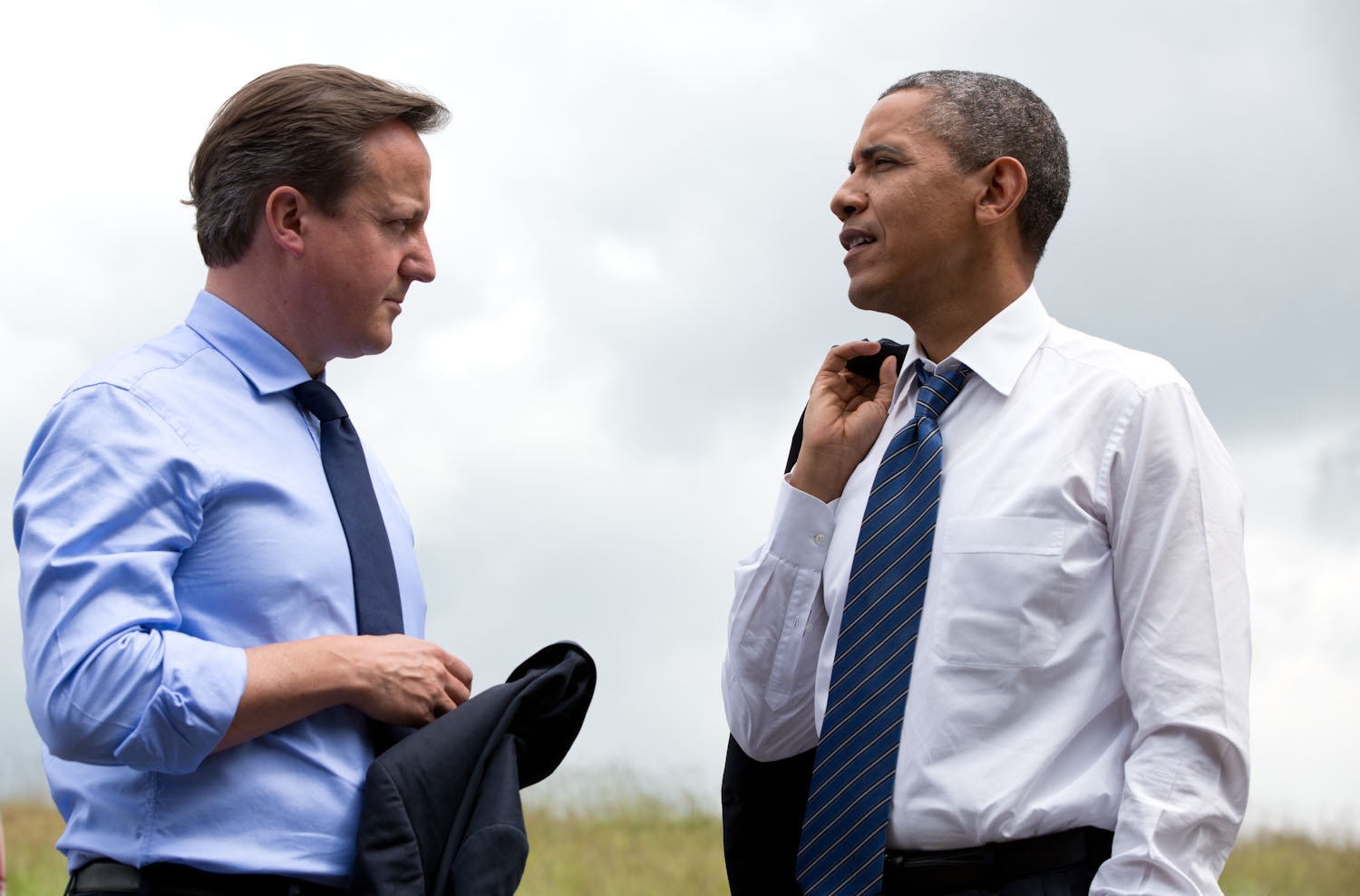 President Barack Obama and British Prime Minister David Cameron talk at the G8 Summit in Lough Erne