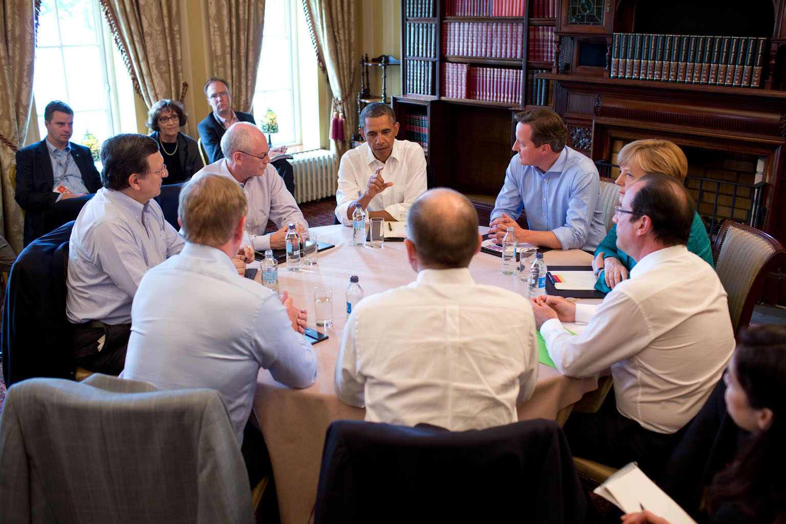 President Barack Obama participates in a G8 Summit meeting on Transatlantic Trade and Investment Partnership