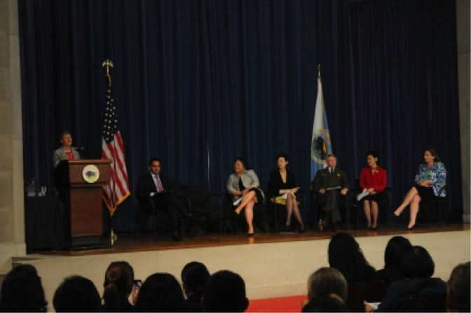 Secretary of the Interior Sally Jewell addresses the White House Forum on AAPI Heritage, May 9, 2013.