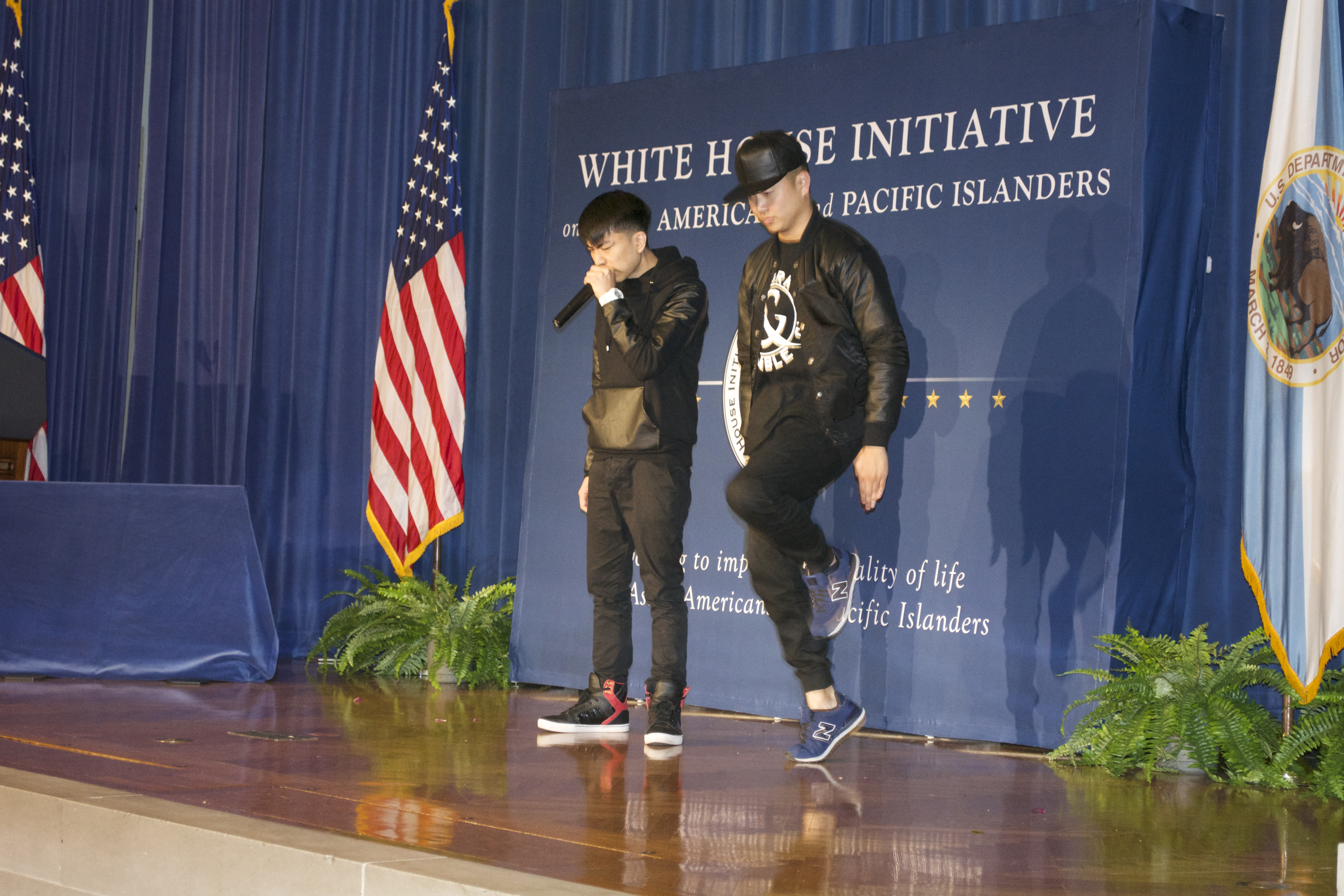 Dancer Mike Song and beatboxer KRNFX perform at AAPI Heritage Month Opening Ceremony