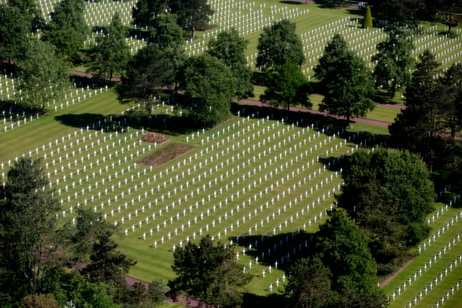 Aerial view of the Normandy American Cemetery and Memorial