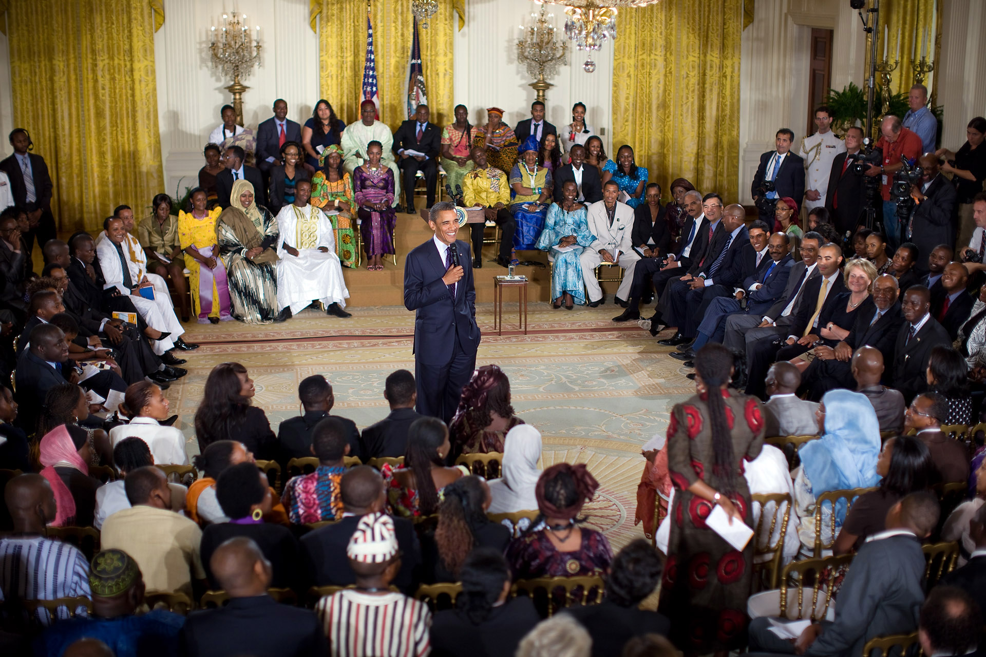 President Obama Takes Questions During Young African Leader Townhall