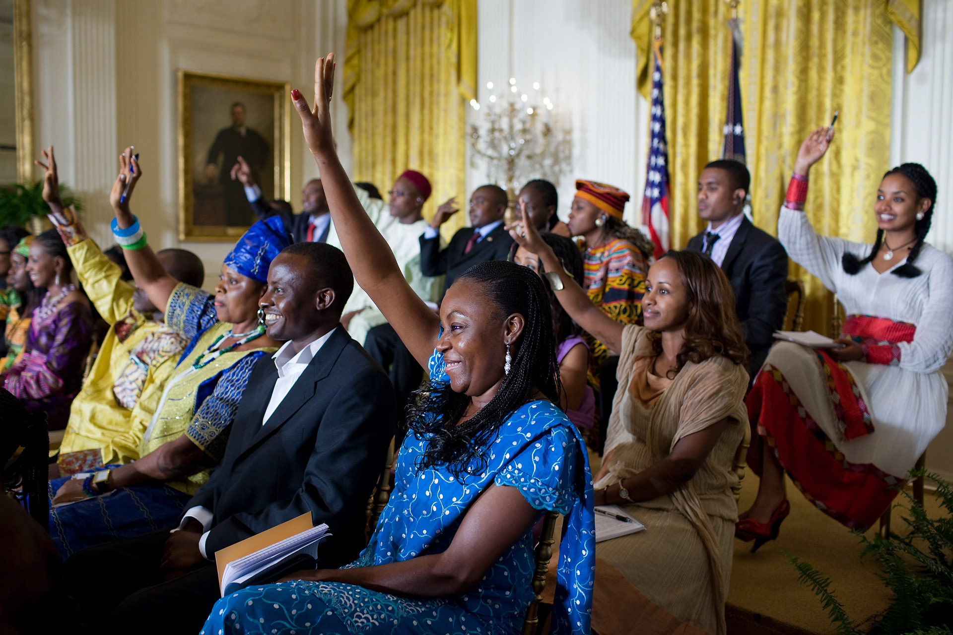 Young African Leaders Raise Their Hands at a White House Forum