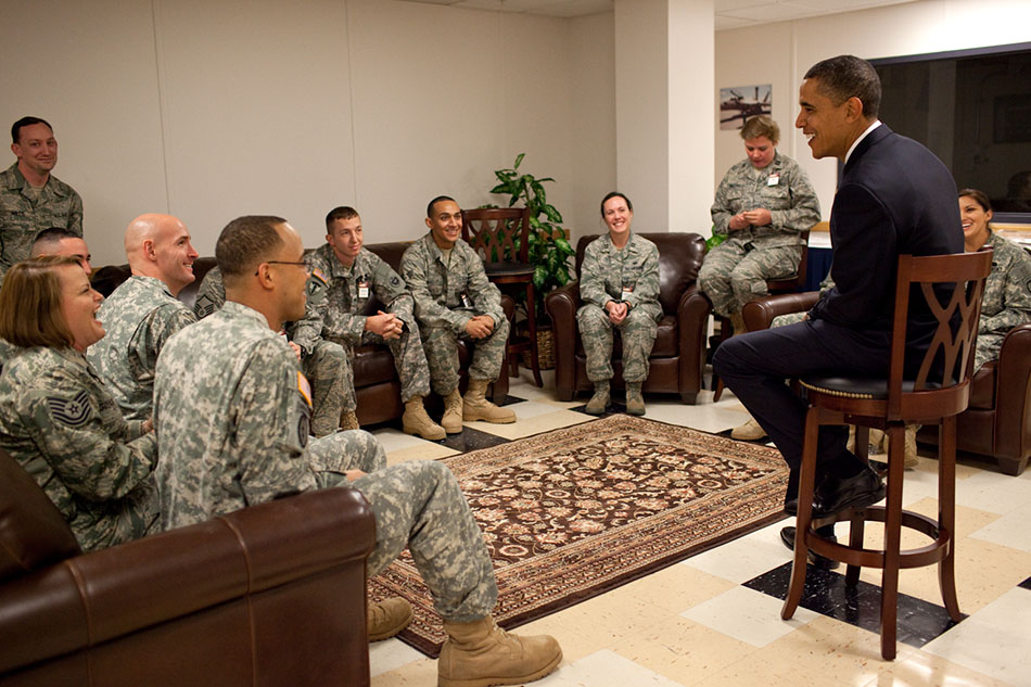 President Talks to Troops in Alaska