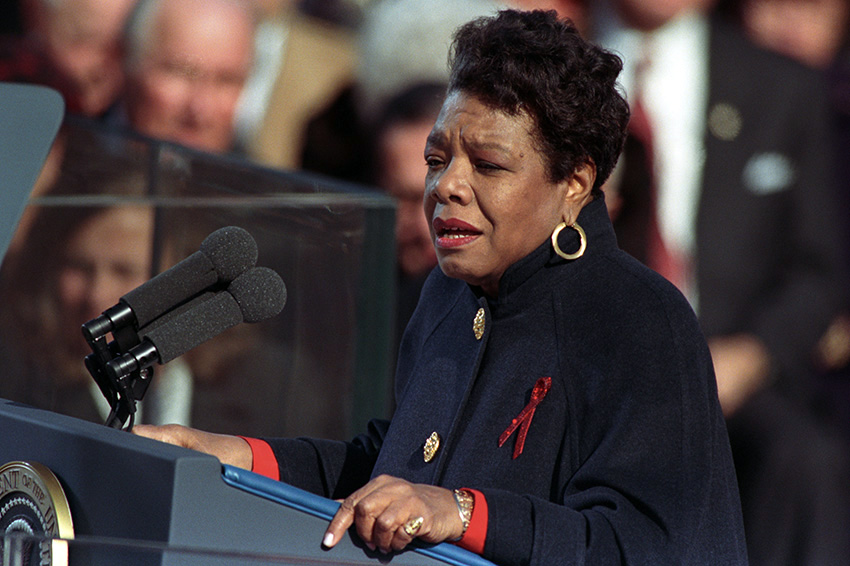 Maya Angelou delivers her poem at the inaugural ceremonies for President Bill Clinton