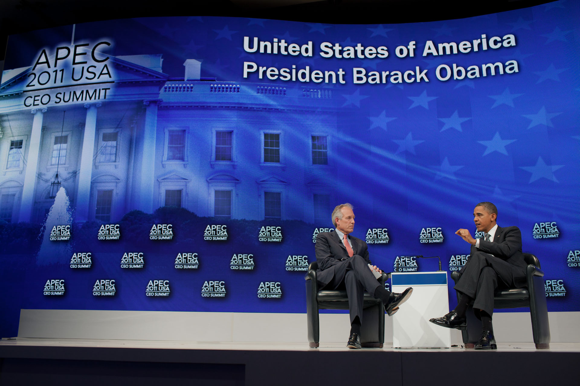 President Barack Obama answers a question at the APEC CEO business summit