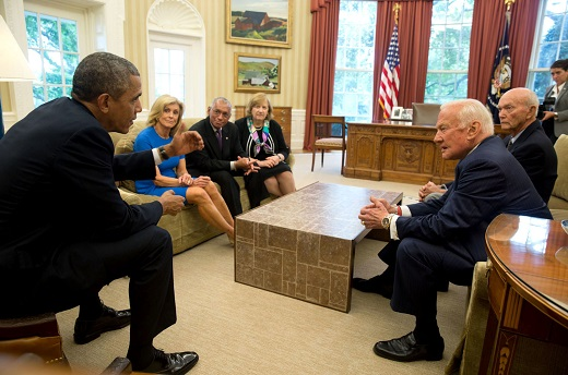 President Barack Obama meets with Apollo 11 astronauts