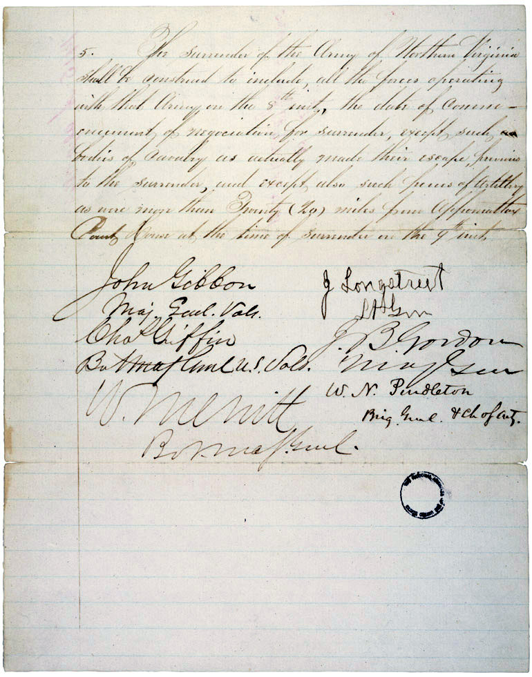 Articles of Agreement Between General Lee and General Grant 1865