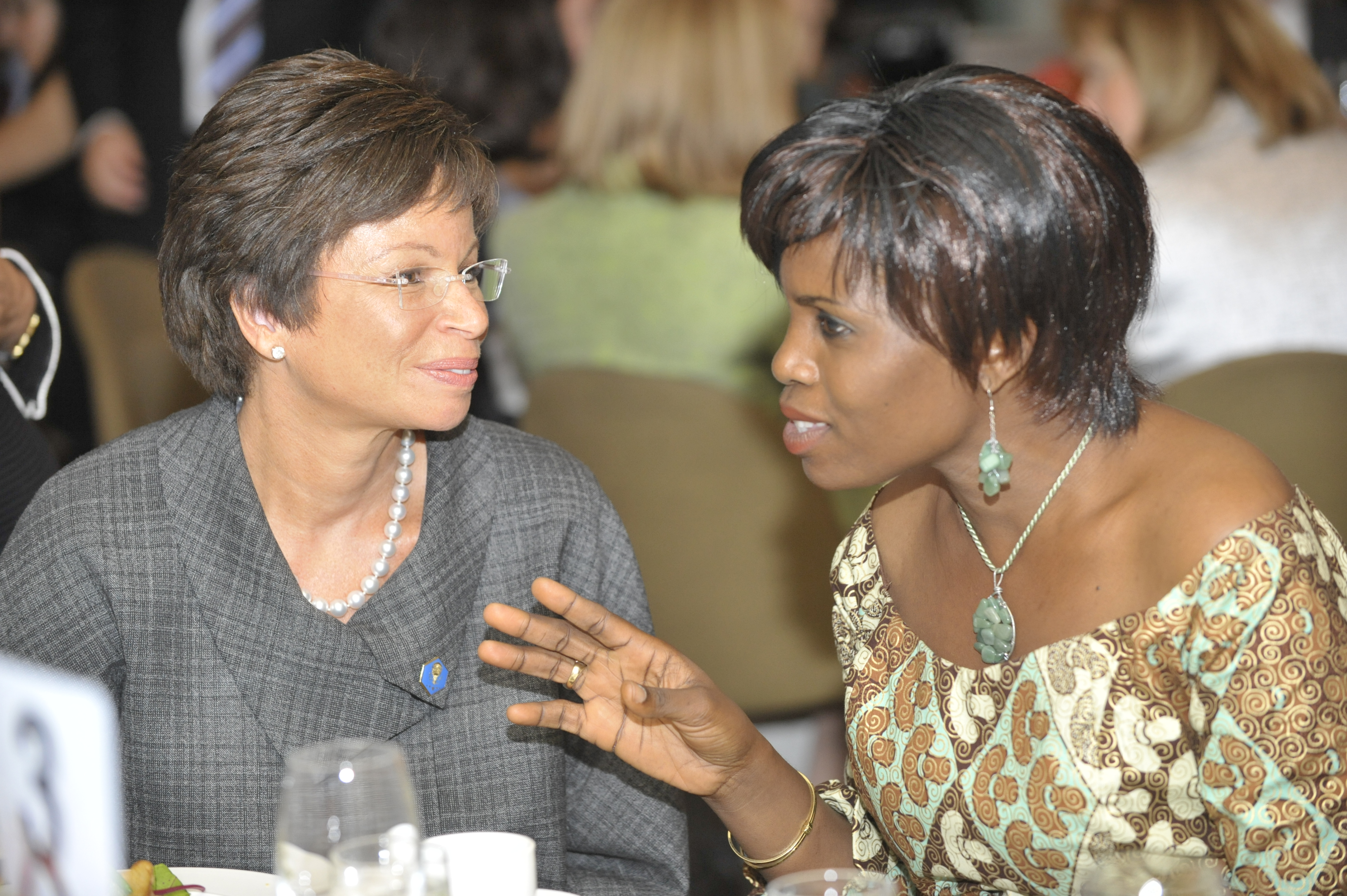 "Ayo Megbope, business owner and graduate of Goldman Sachs' 10,000 Women program, shares stories about her early days as an entrepreneur with Senior Advisor to the President, Valerie Jarrett in 2009.  Photo was provided by ""Goldman Sachs 