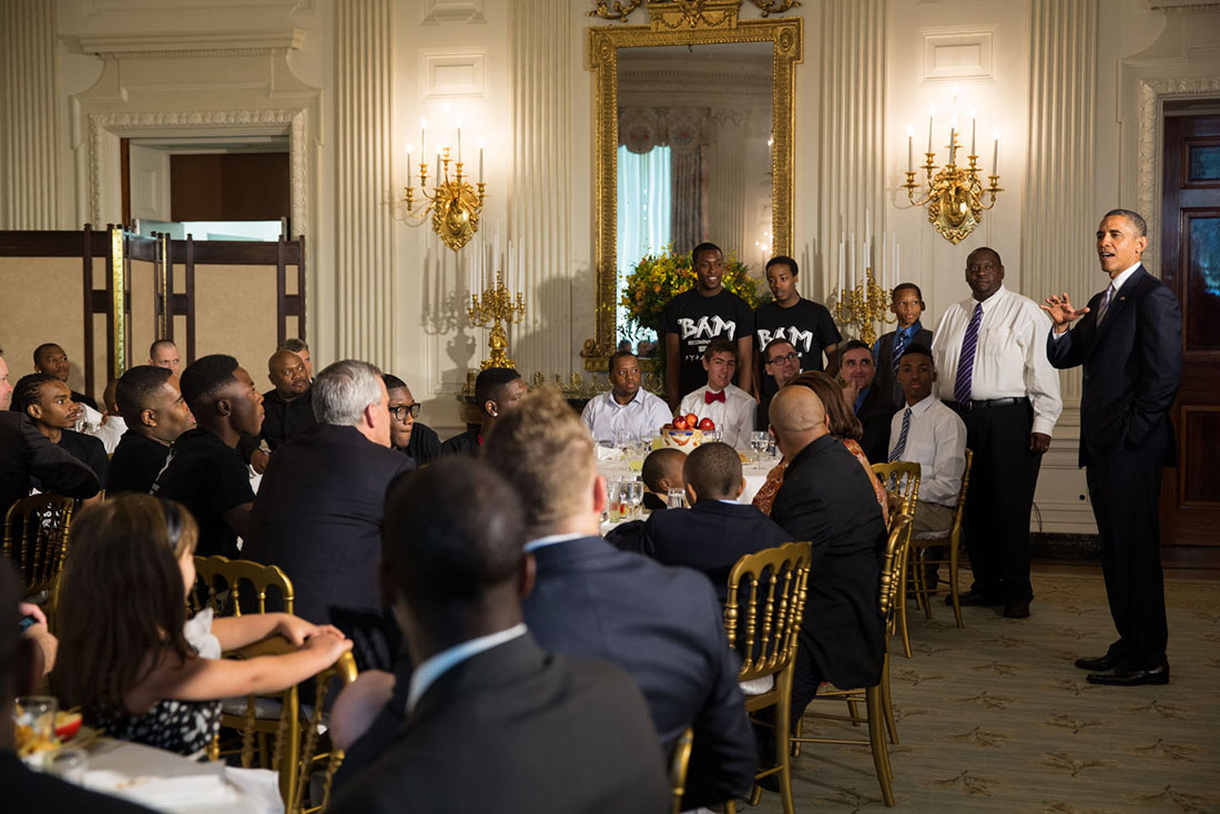 President Barack Obama welcomes participants to the Father's Day luncheon