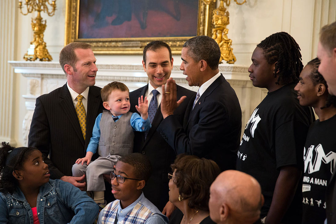 President Barack Obama greets participants during the Father's Day luncheon