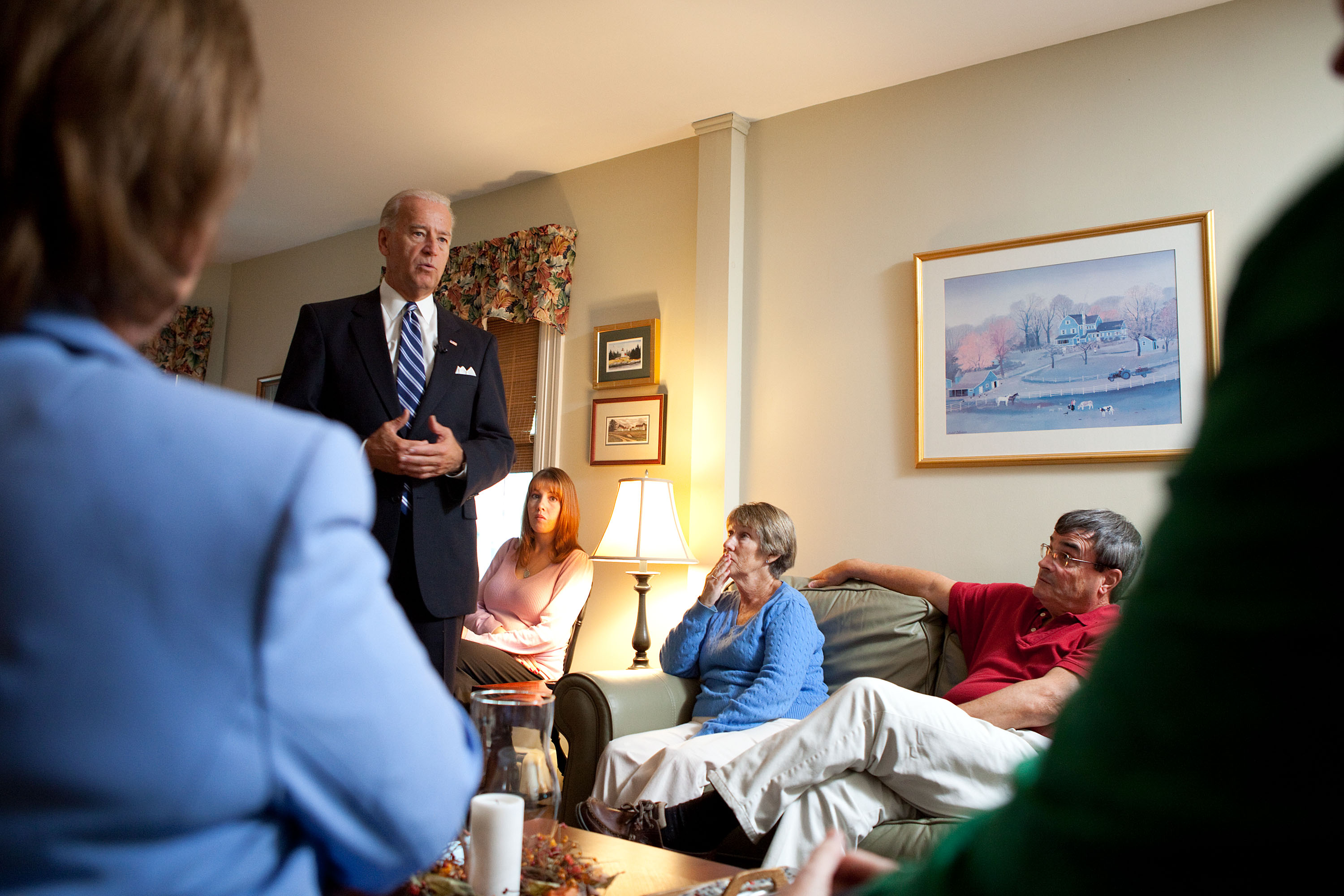Vice President Joe Biden attends a Middle Class Task Force Event at the Home of Lorie and Robert Cochran in Manchester, New Hampshire