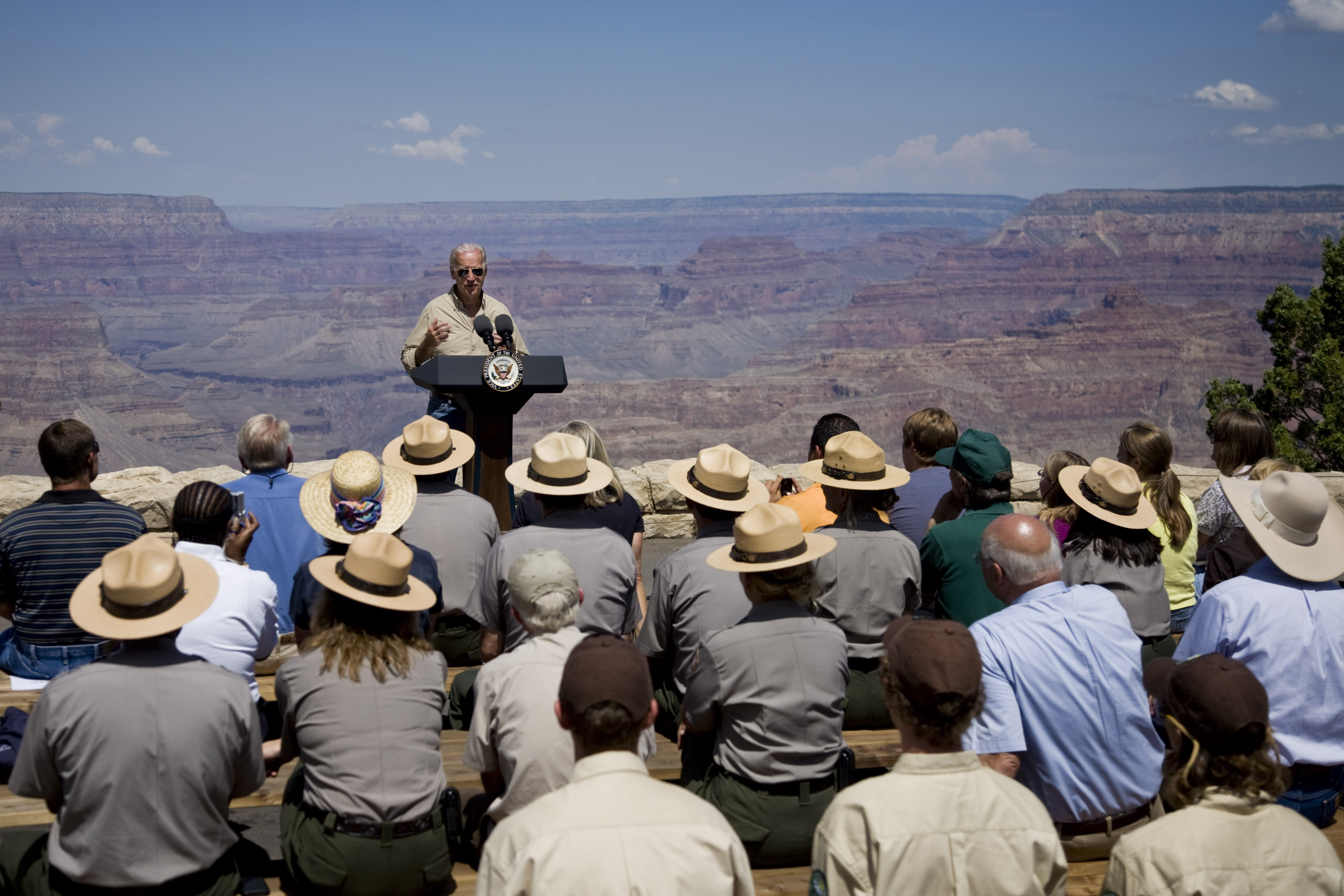 Vice President Joe Biden Discusses the Recovery Act on the South Rim of the Grand Canyon