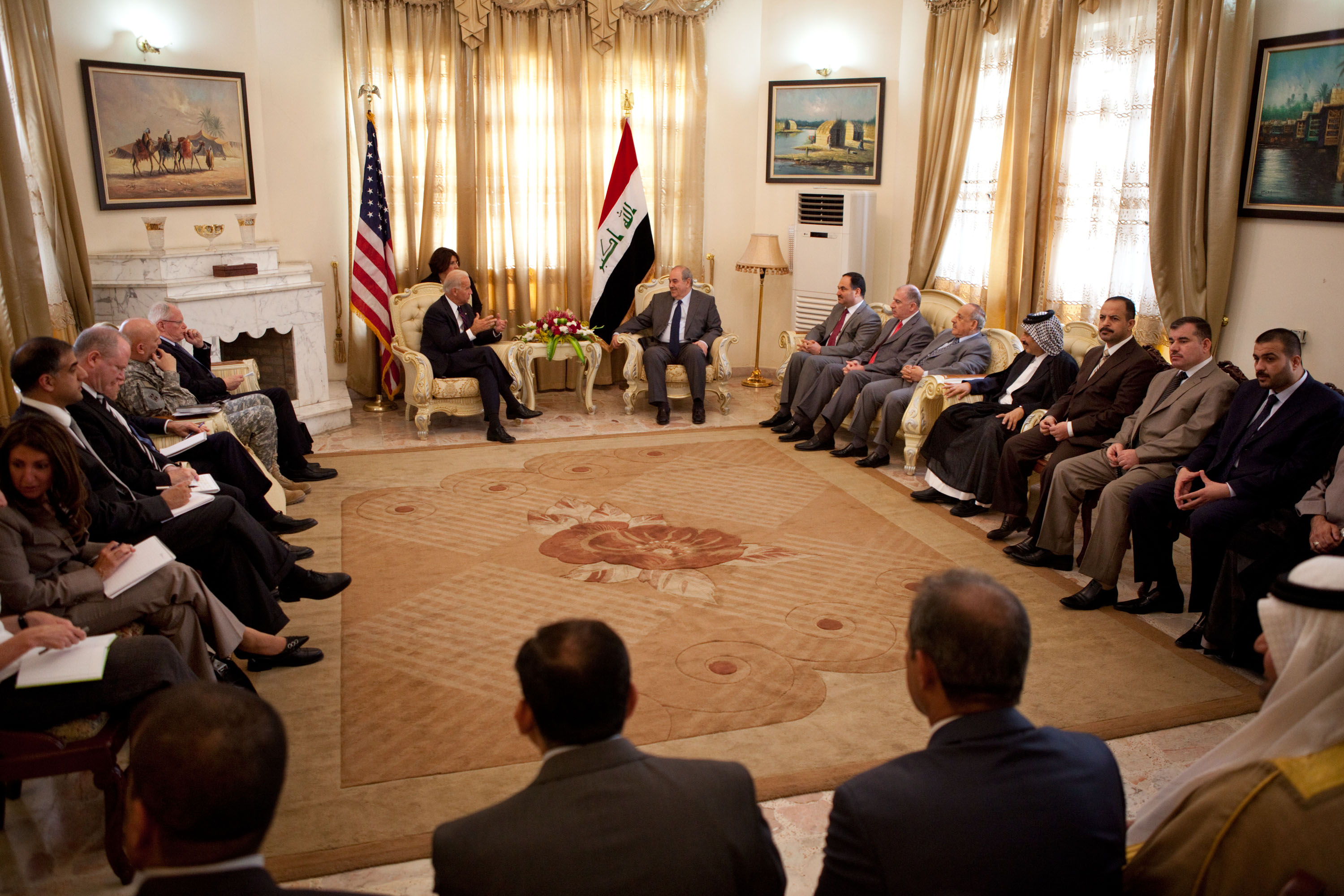 Vice President Joe Biden Meets with Ayad Allawi at Iraqi Deputy Prime Minister Issawi's Home in Baghdad, Iraq