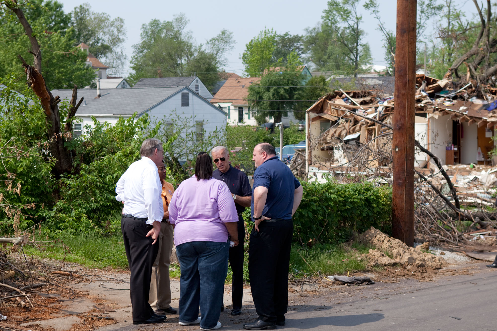 Vice President Joe Biden Talks with Residents During Tour of Tornado Damage in Missouri