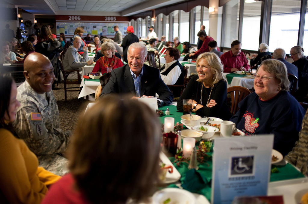 Vice President Joe Biden and Dr. Jill Biden on Christmas Day at Walter Reed