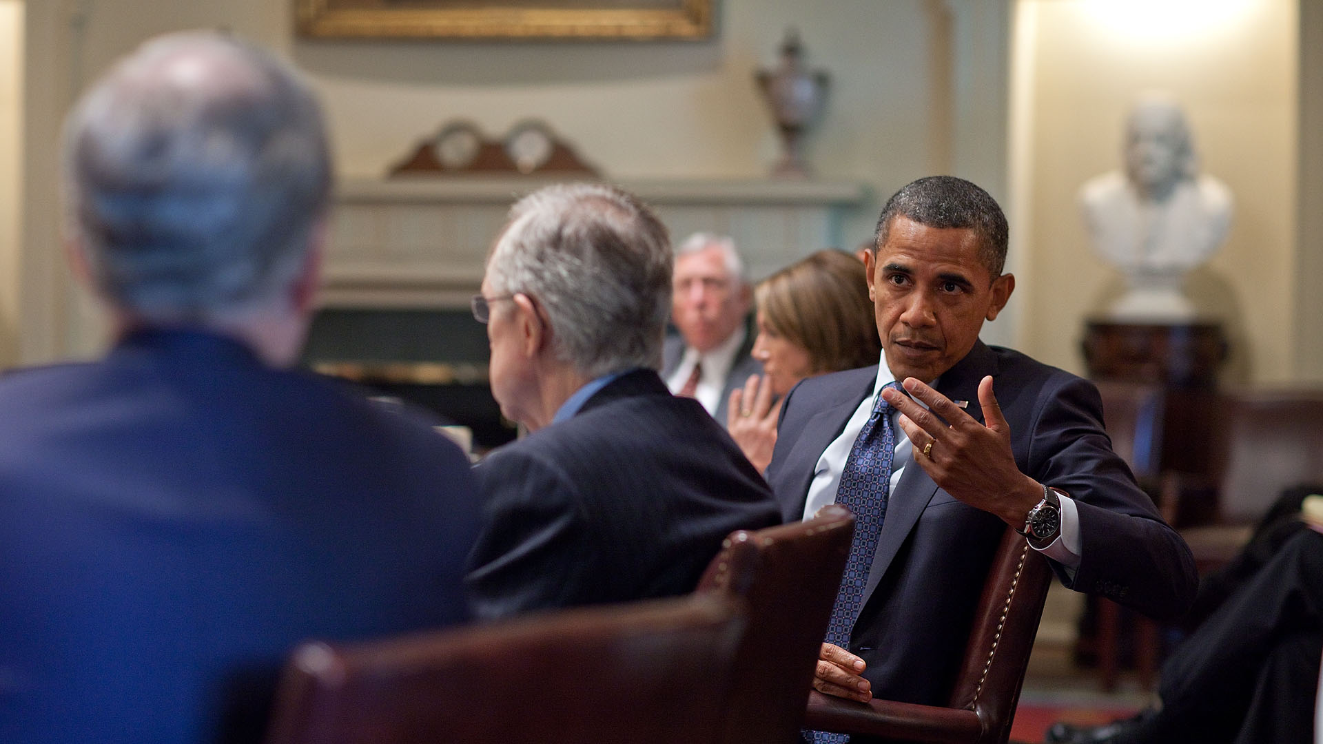 President Barack Obama Meets with Bipartisan Members of Congress in the Cabinet Room of the White House