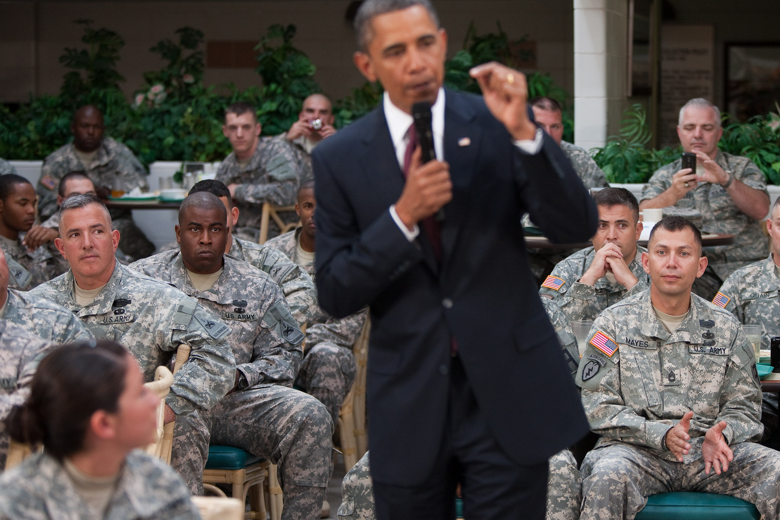 President Barack Obama Speaks to Members of the Military at Fort Bliss in El Paso