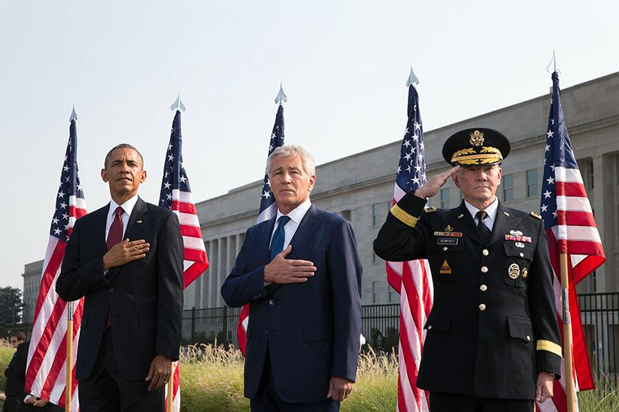Pres Obama, Sec. Hagel and Gen. Dempsey at 9/11 Pentagon ceremony