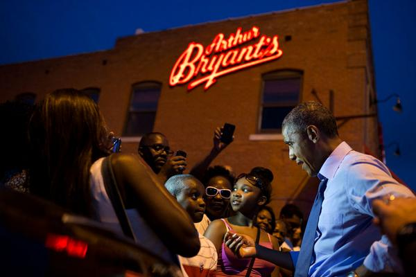 President Obama Outside Arthur Bryants