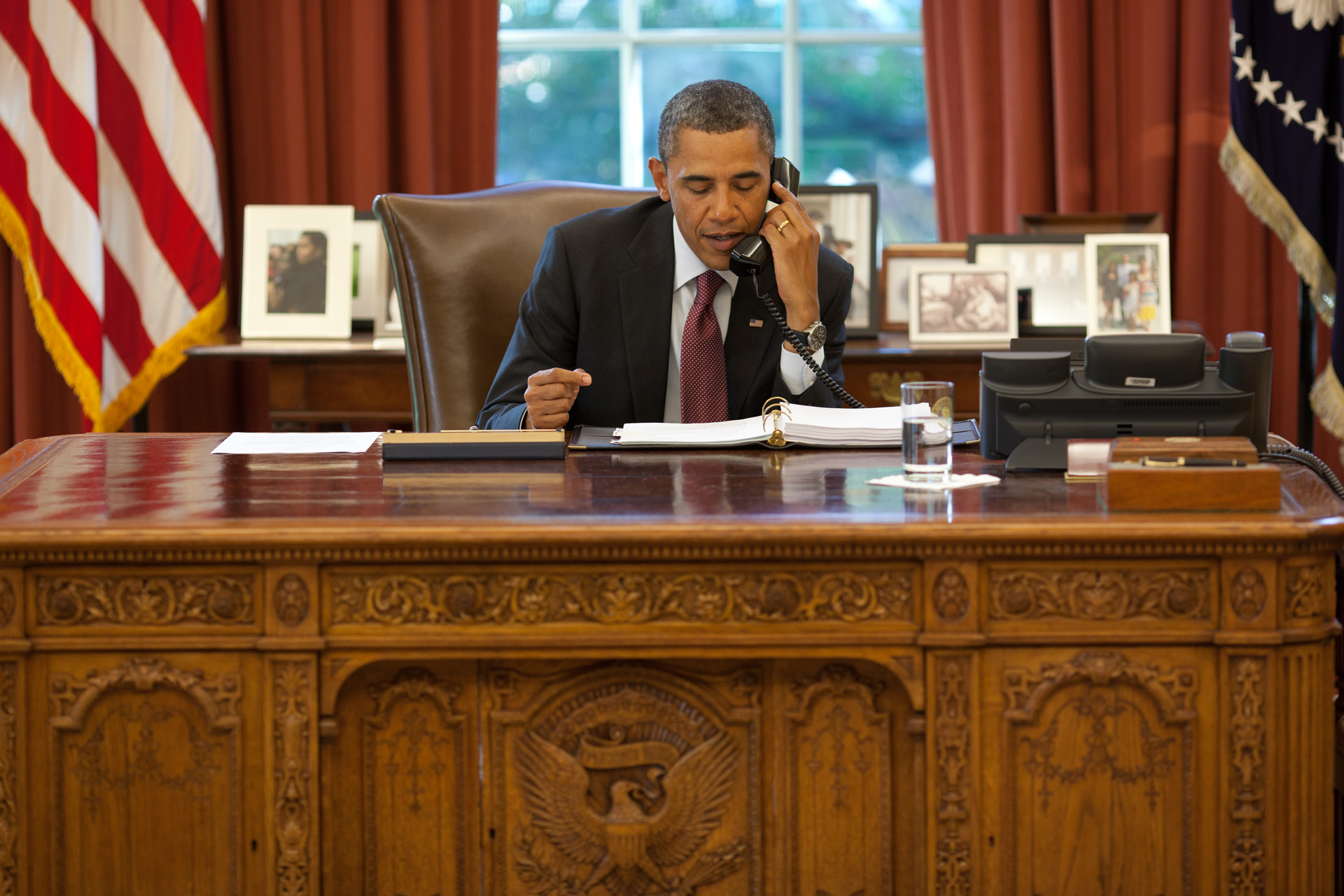 President Obama on a call about the American Jobs Act