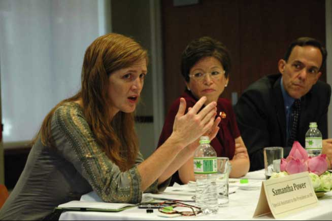 Samantha Power, Valerie Jarrett, and Ambassador William E. Todd meet with Cambodian human rights organizations