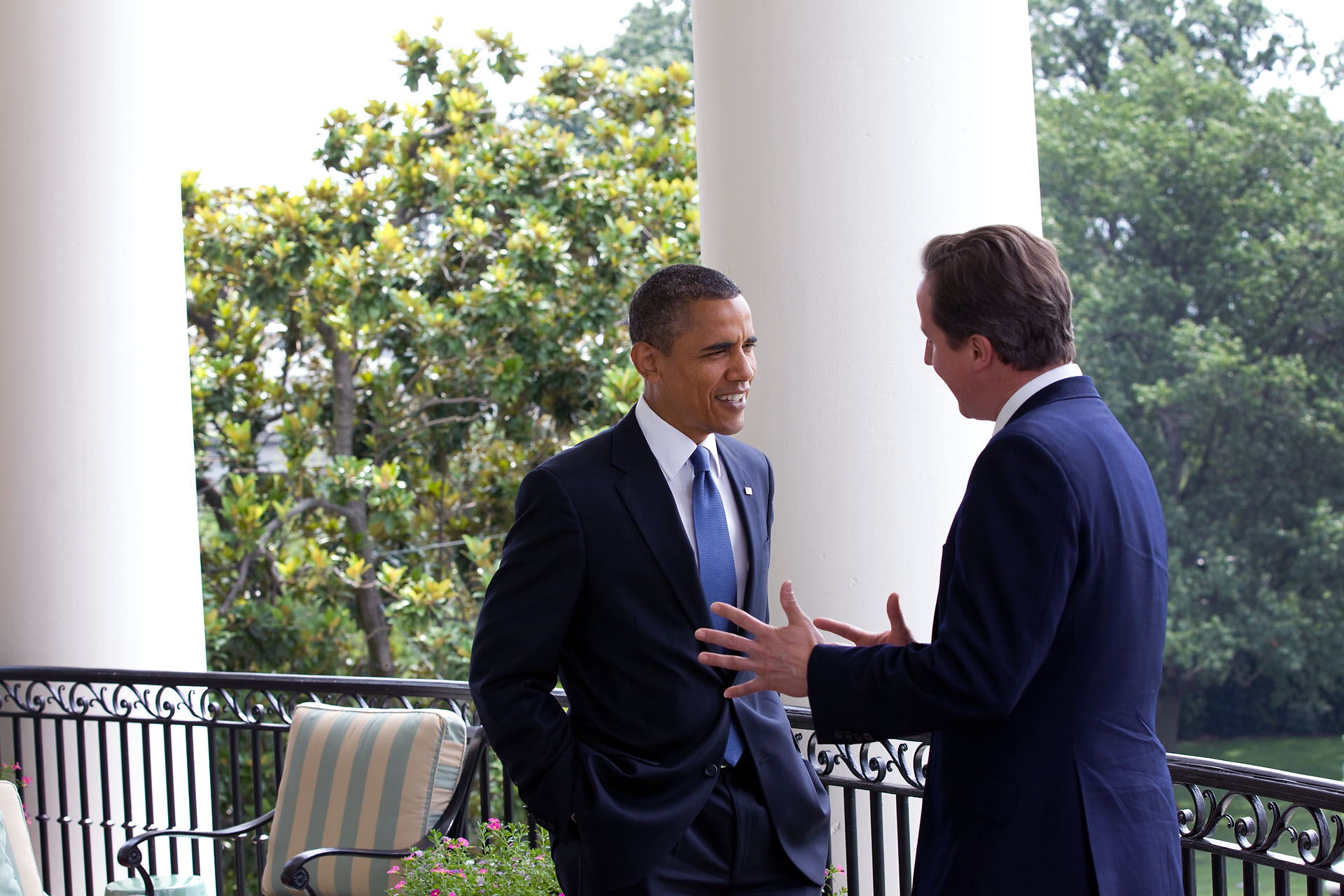 President Barack Obama Talks with Prime Minister David Cameron of the United Kingdom on the Truman Balcony