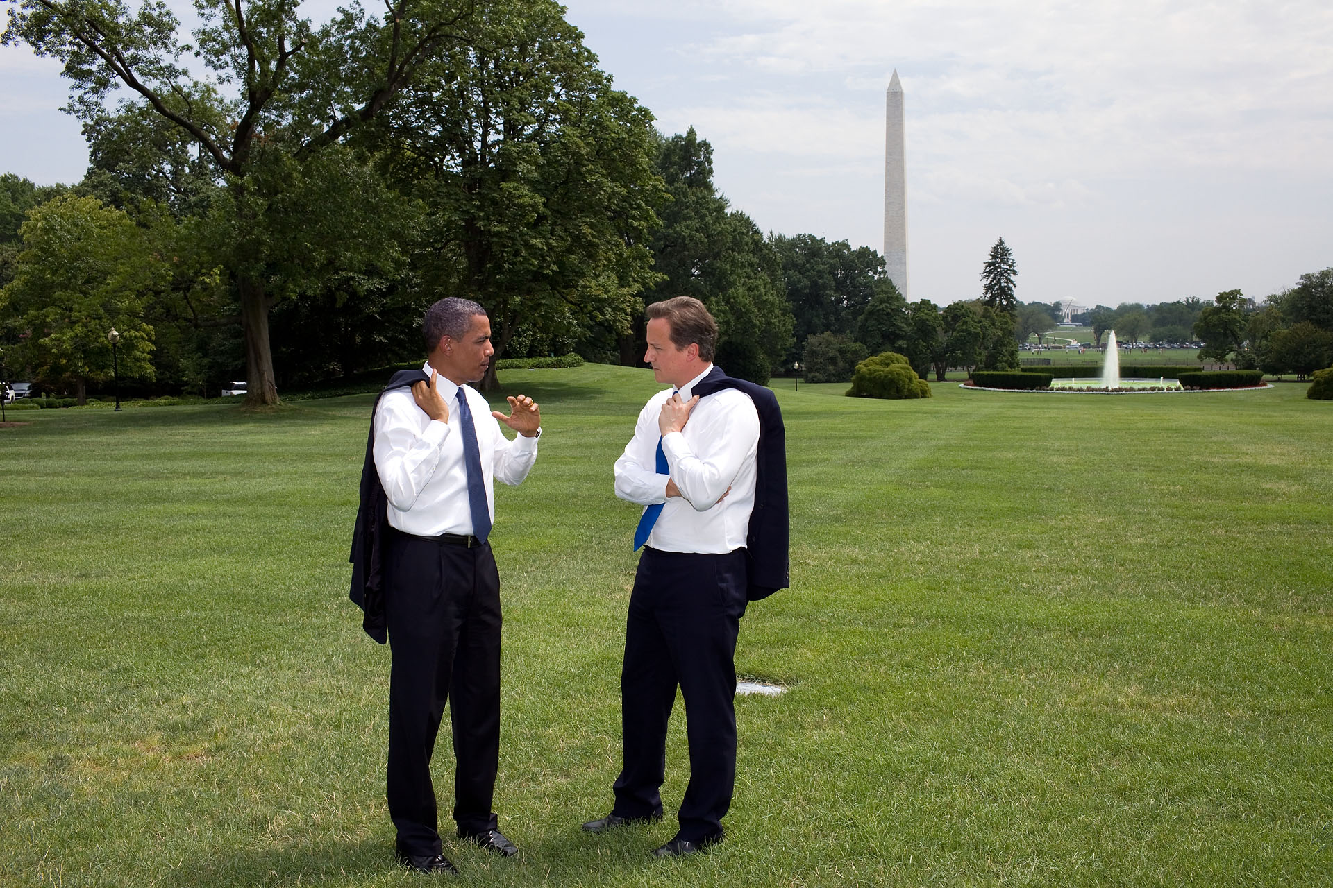 President Barack Obama and Prime Minister David Cameron of the United Kingdom Stop to Talk on the South Lawn