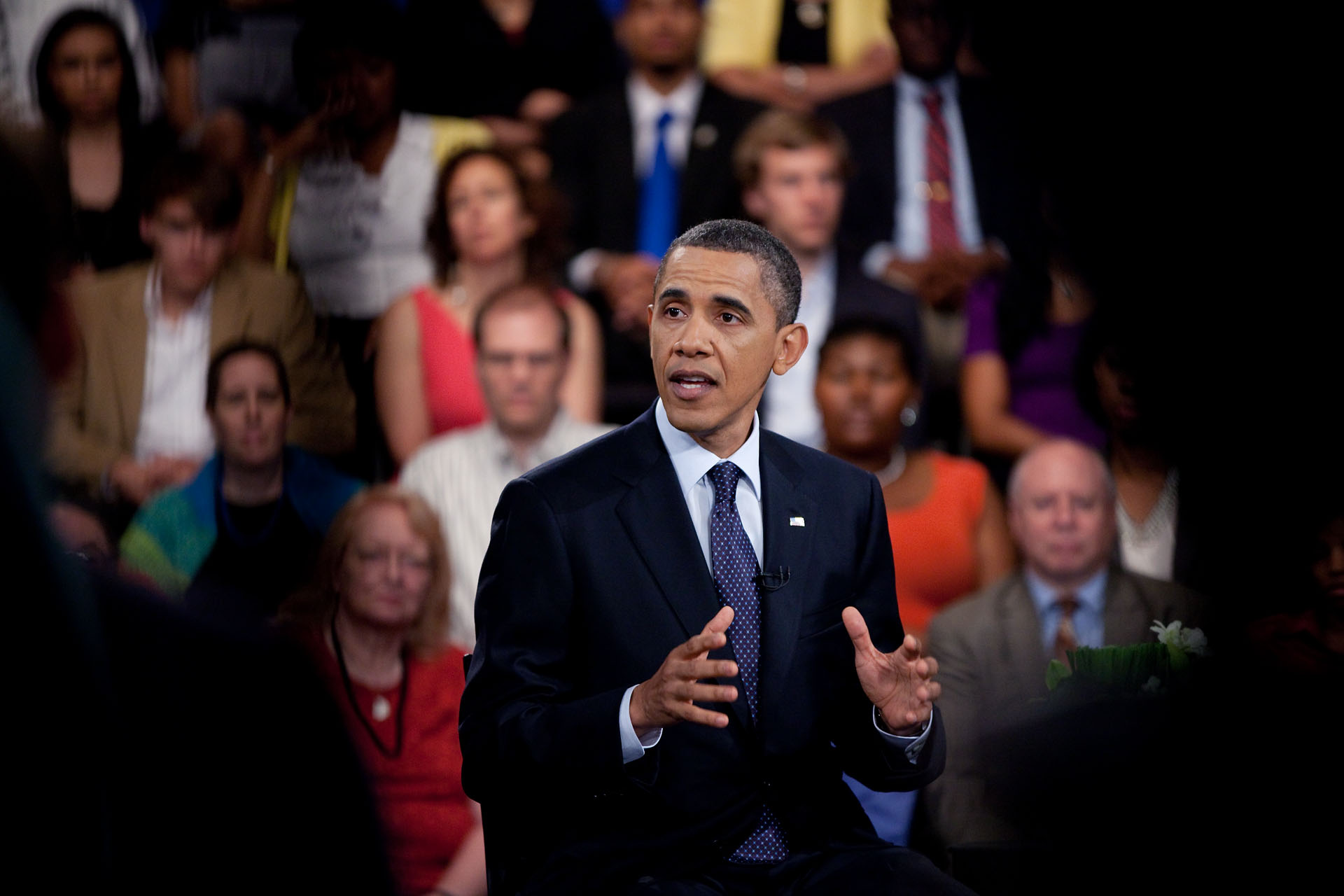 President Barack Obama Participates in a CBS News Townhall Meeting on the Economy