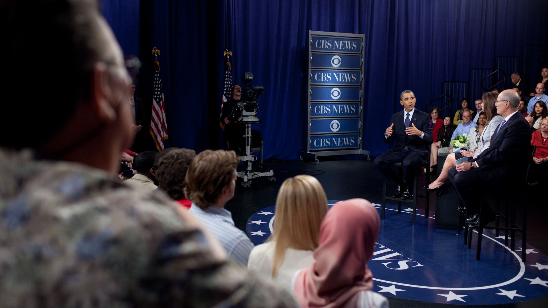 President Barack Obama Responds to a Question at a CBS News Townhall Meeting on the Economy