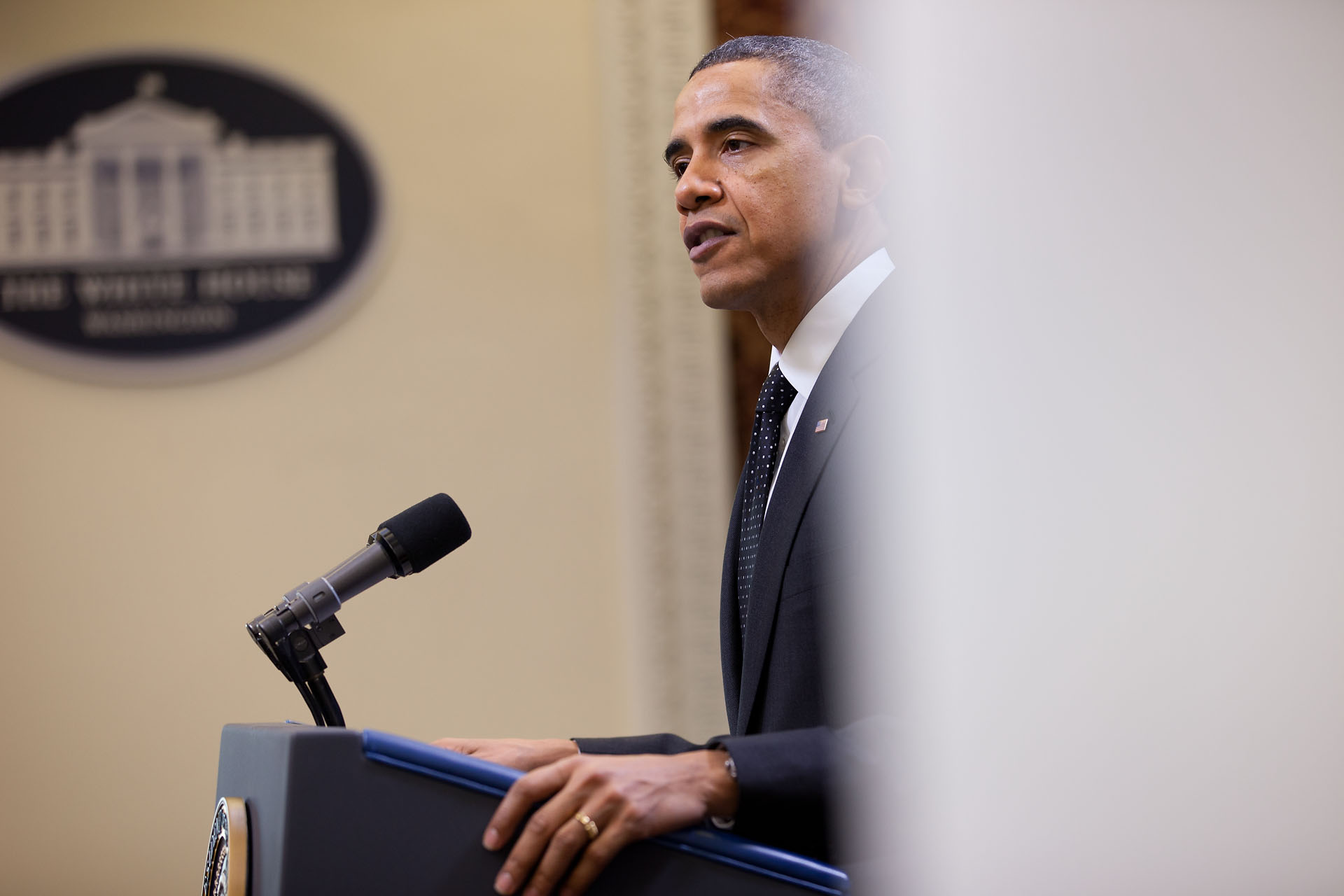 President Barack Obama Makes a Statement Before Meeting with Major CEOs on the Economy