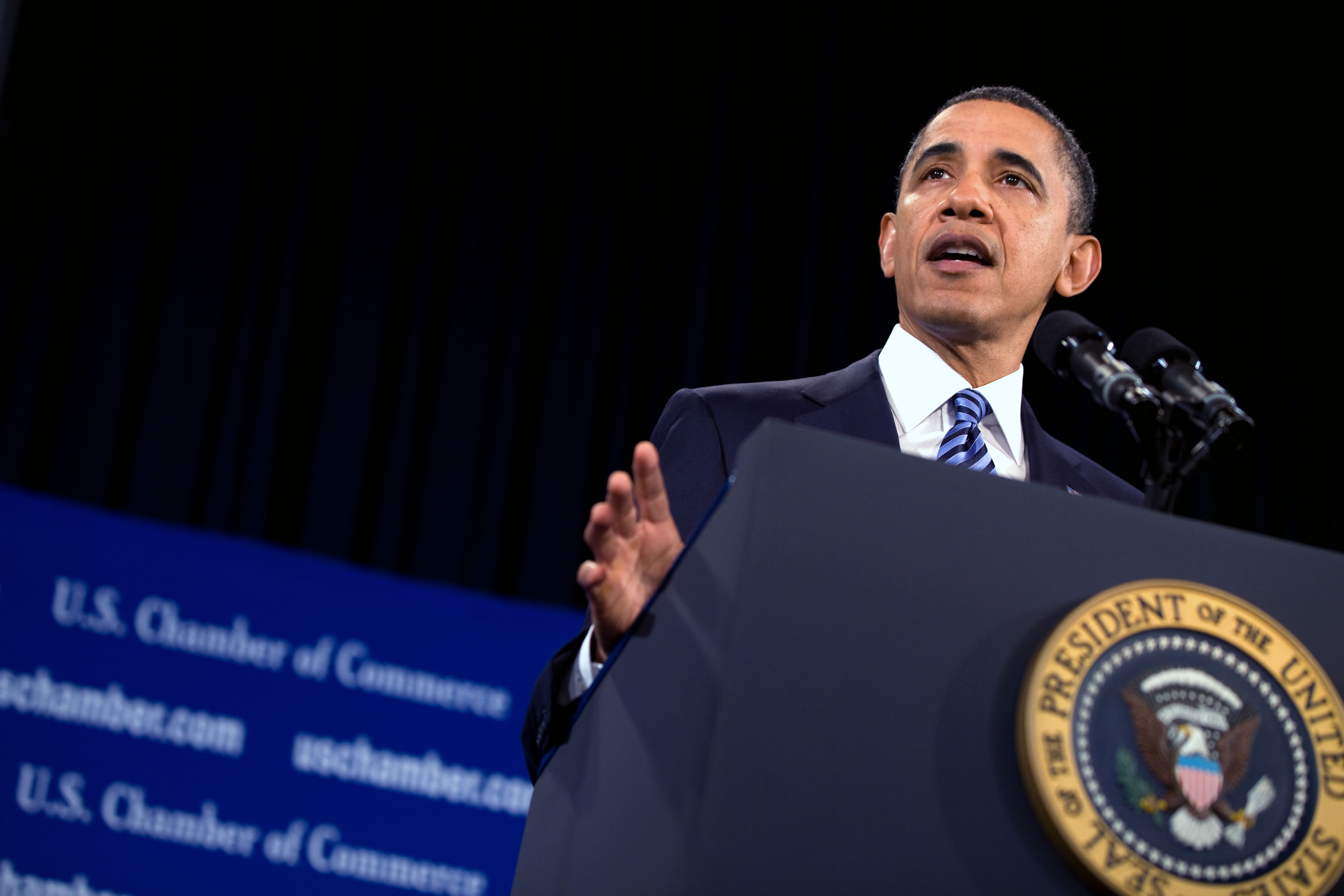 President Barack Obama Addresses the U.S. Chamber of Commerce
