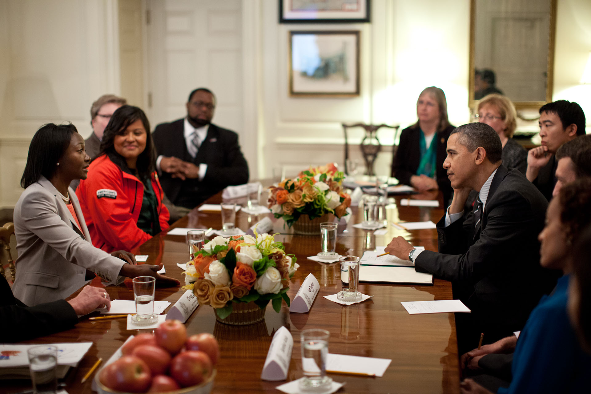 President Obama Speaks with Champions of Change Alumni