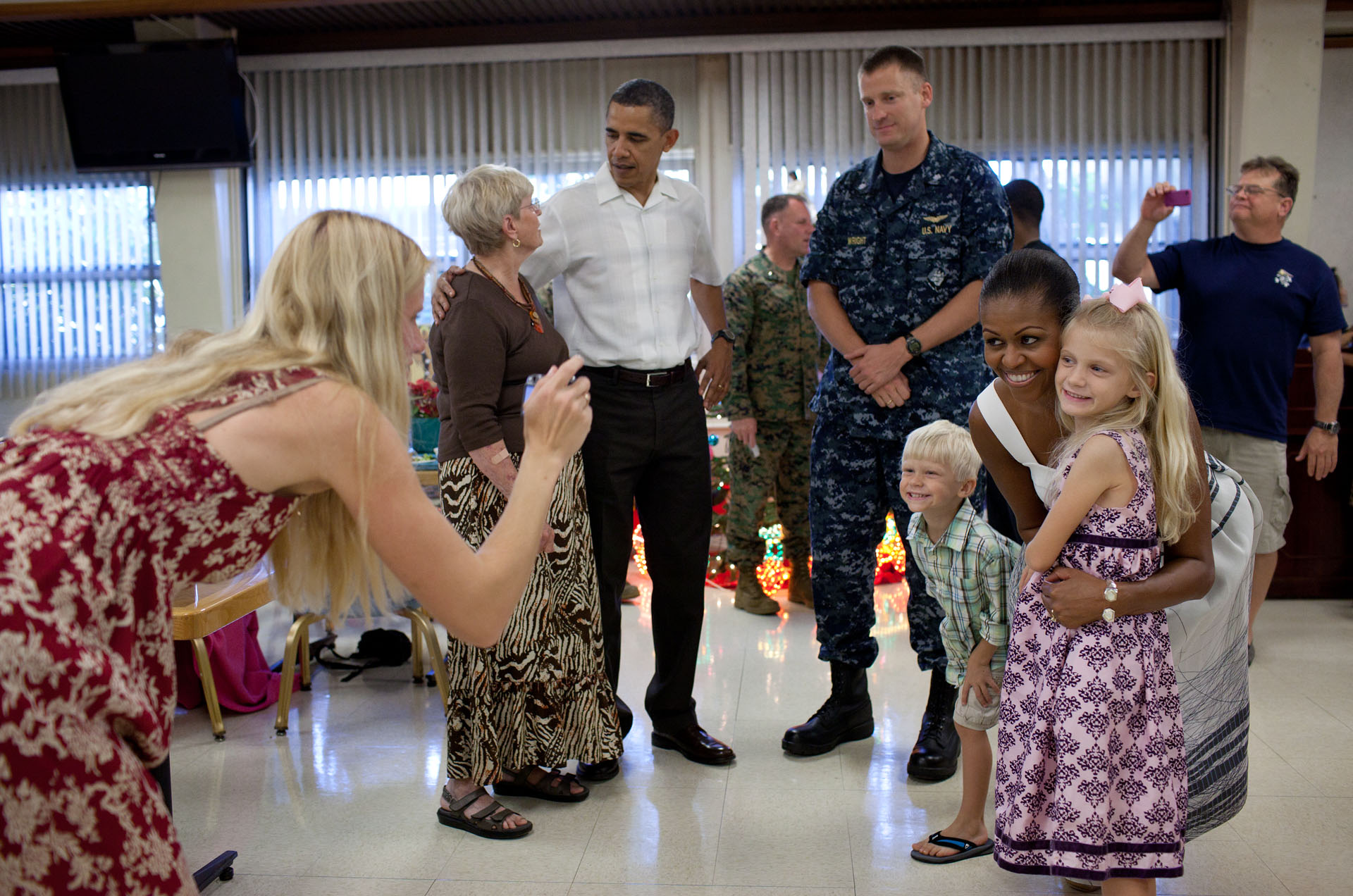 President Obama and First Lady Michelle Obama at Marine Corps Base Hawaii in Kailua on Christmas