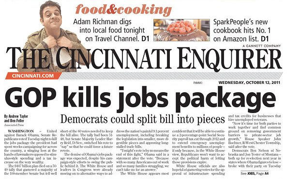 Cincinnati Enquirer Front Page on Jobs Vote