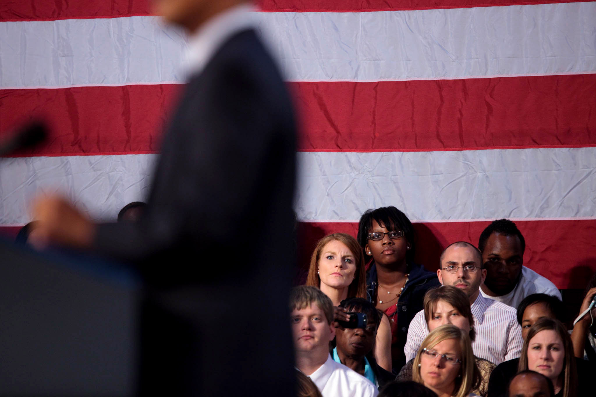 The Crowd in Parma, Ohio Listens to President Obama Speak About the Economy