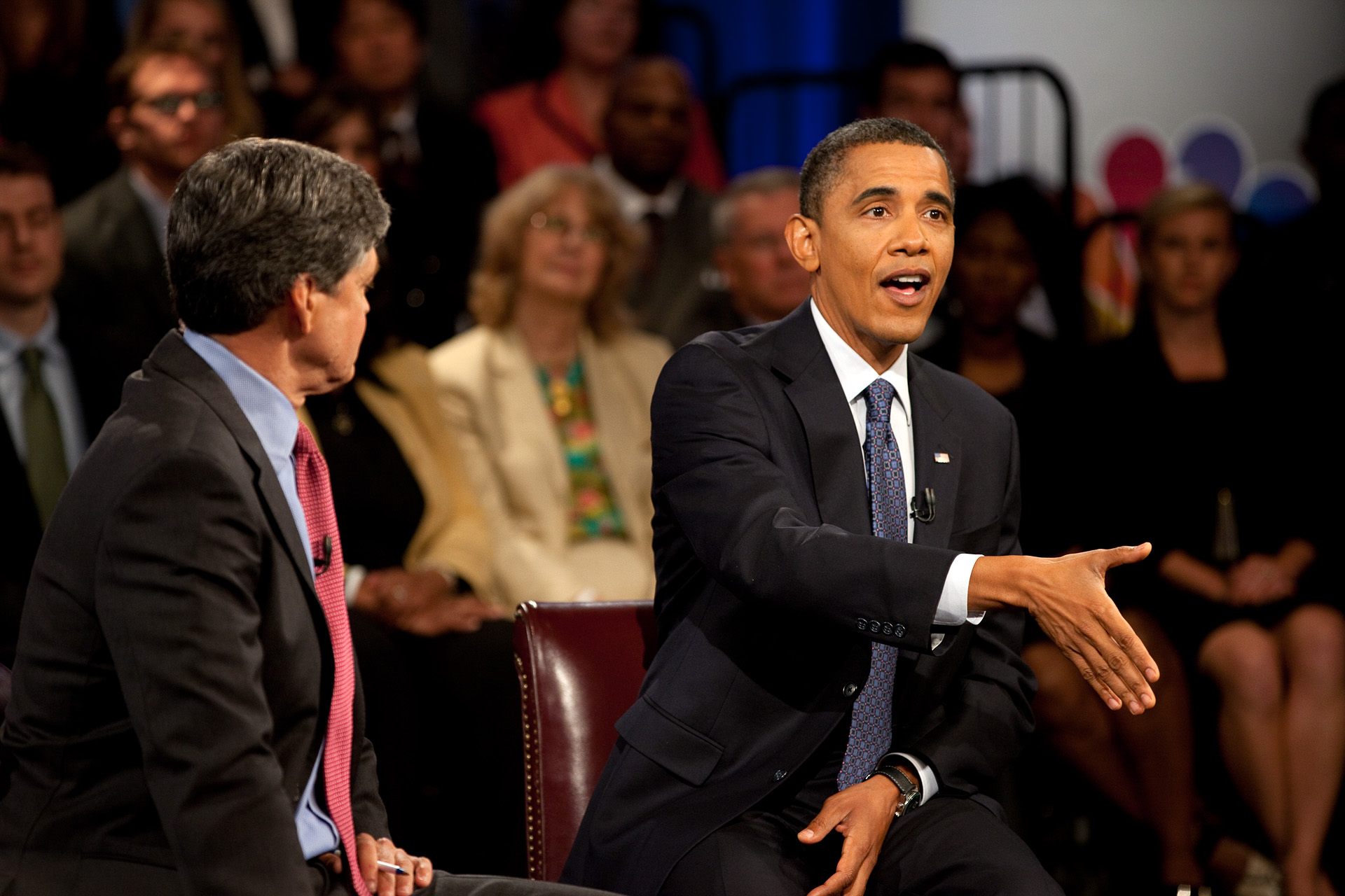 President Obama Gestures During an Answer at the CNBC Town Hall