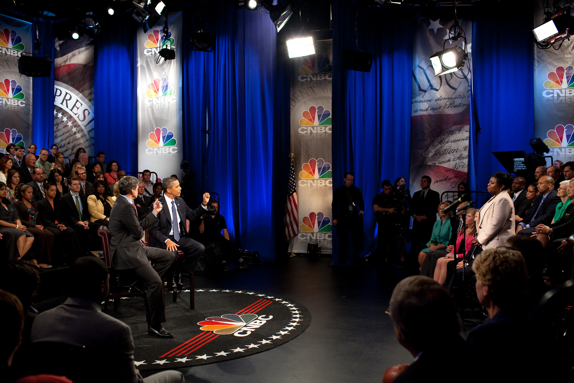 President Obama Addresses an Audience Member During an Answer at the CNBC Town Hall