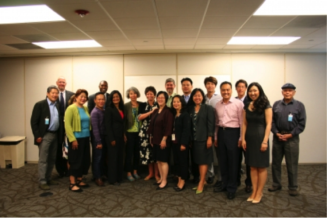 Valerie Jarrett, Senior Advisor to President Obama, meets with AAPI community leaders at the International Community Health Services Clinic in Seattle, WA, Sept. 4, 2013.