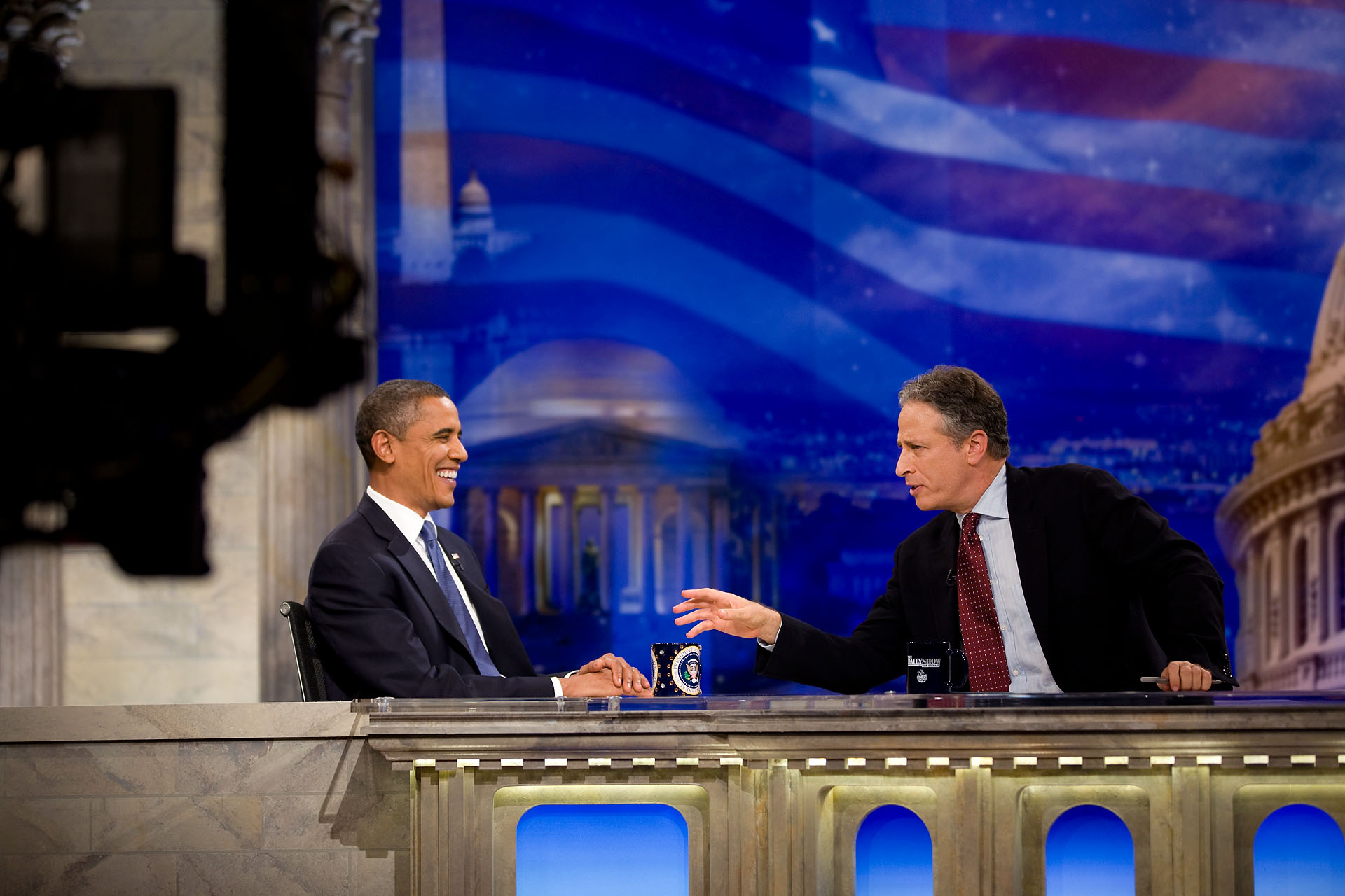 President Barack Obama Tapes an Interview for the Daily Show - Close Up