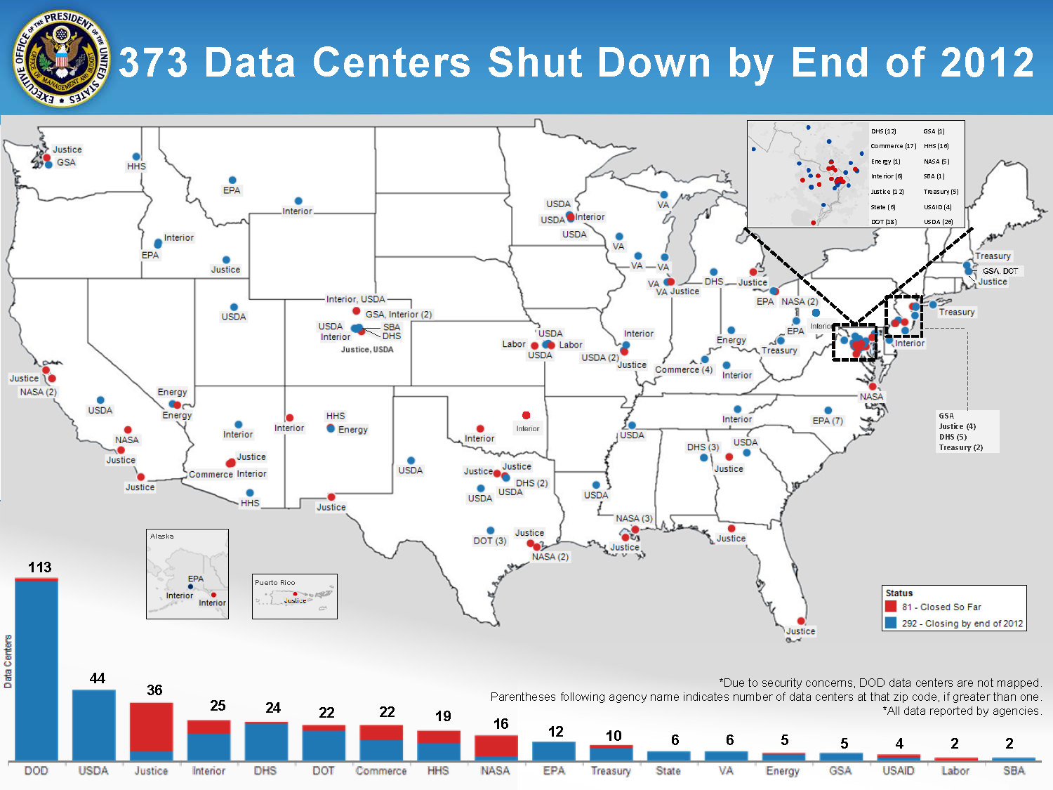 Shutting Down Duplicative Data Centers Whitehousegov - White house on us map