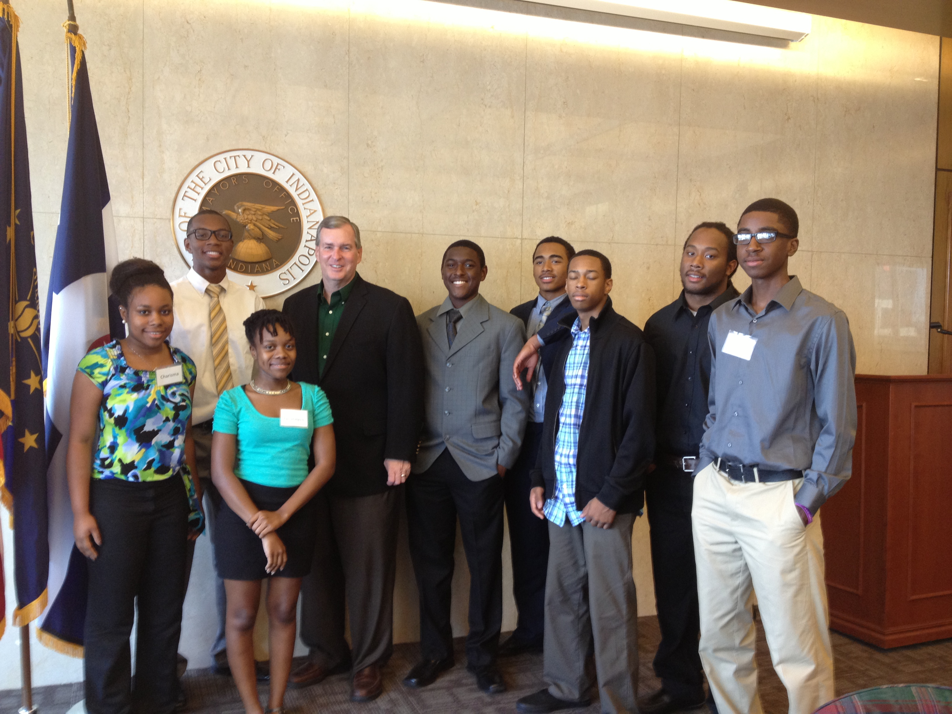 Indianapolis Mayor Greg Ballard and the participants of DirectEmployers Youth Enhancement Summer Program 2013