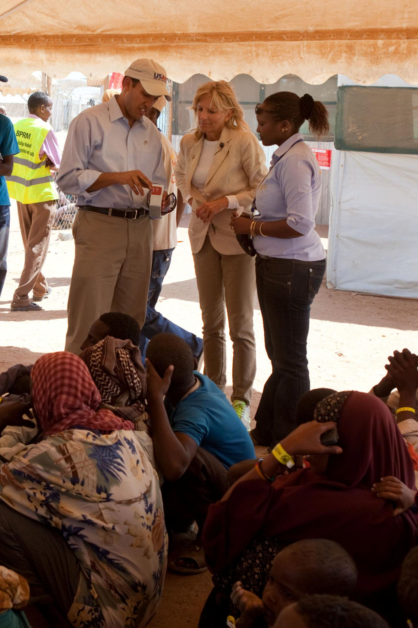 Dr. Jill Biden Talks With USAID Administrator Dr. Raj Shah at Dagahaley Refugee Camp