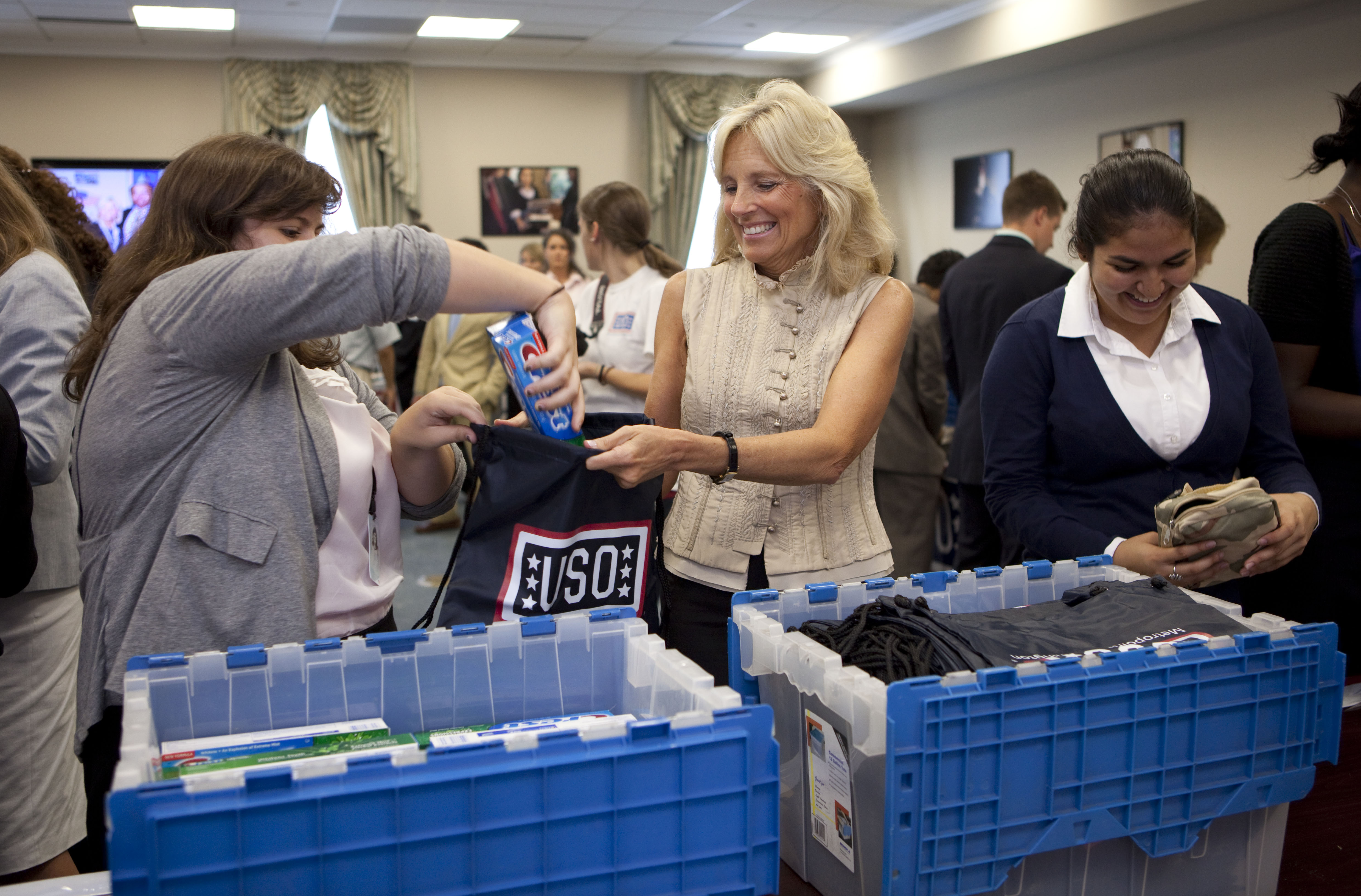 Dr. Biden assembles care packages with White House interns