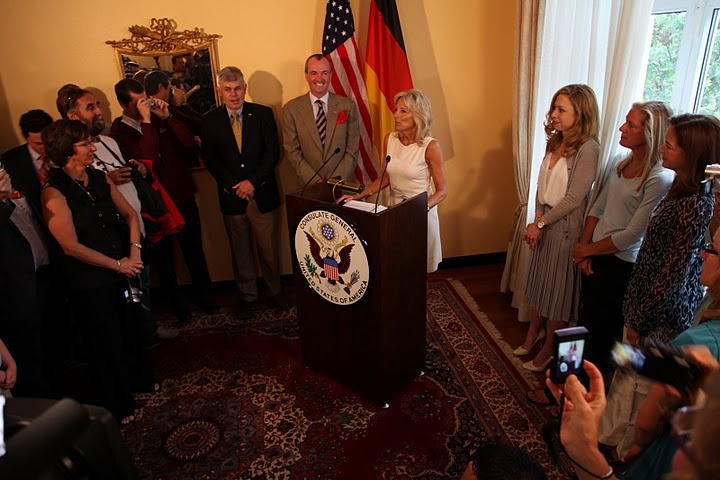 Dr. Biden addresses family and friends of Team USA
