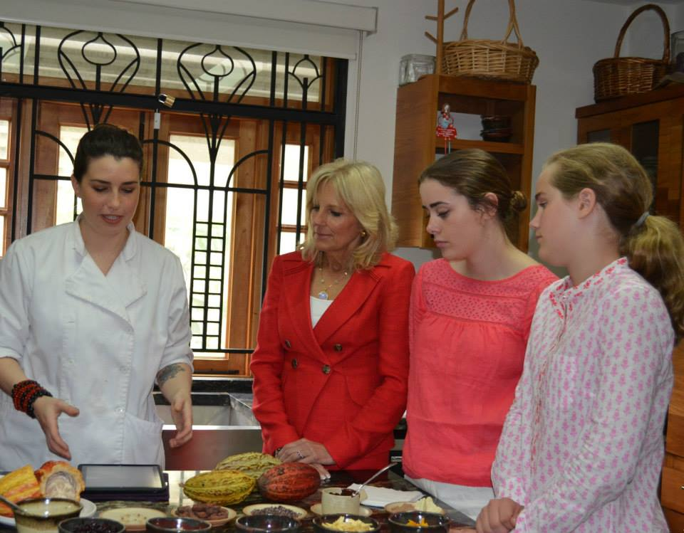 Dr. Biden, Naomi and Maisy get a lesson in chocolate making