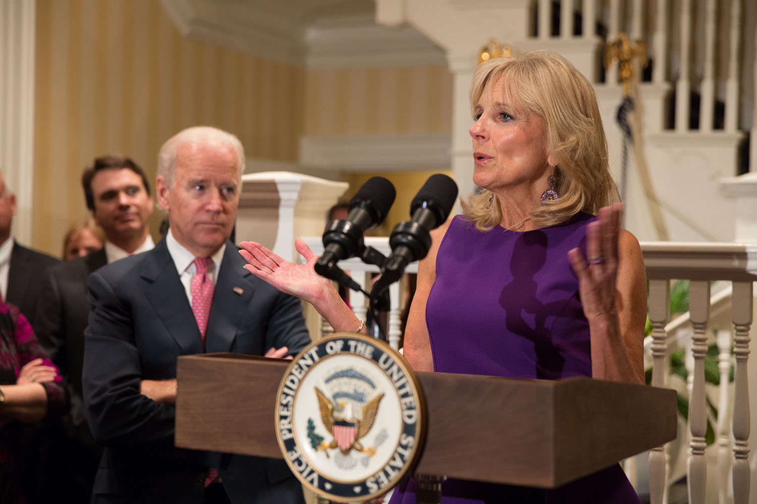 Dr. Jill Biden gives remarks at a breast cancer awareness month reception