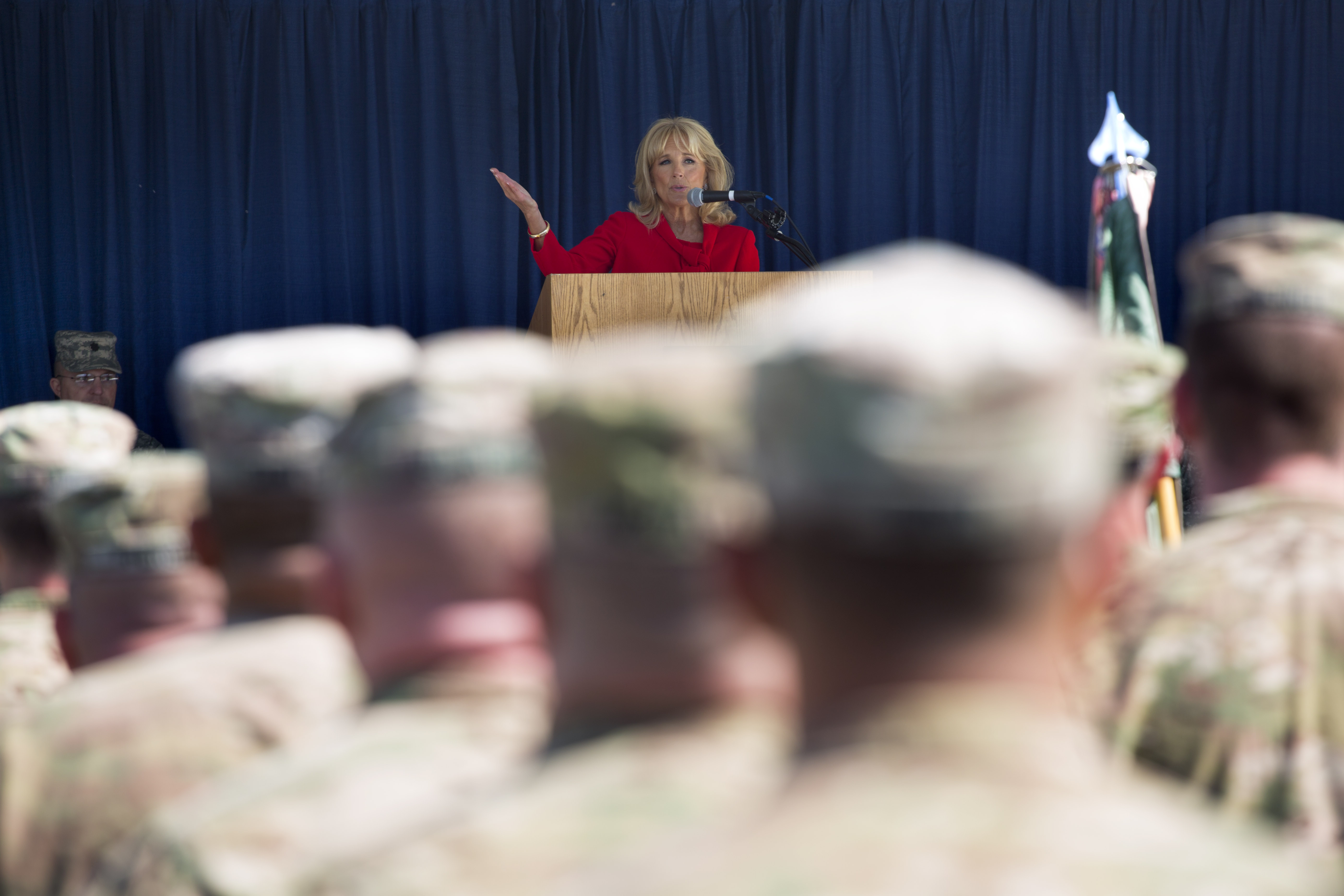 Dr. Jill Biden speaks to members of the 153rd Military Police Company and their families