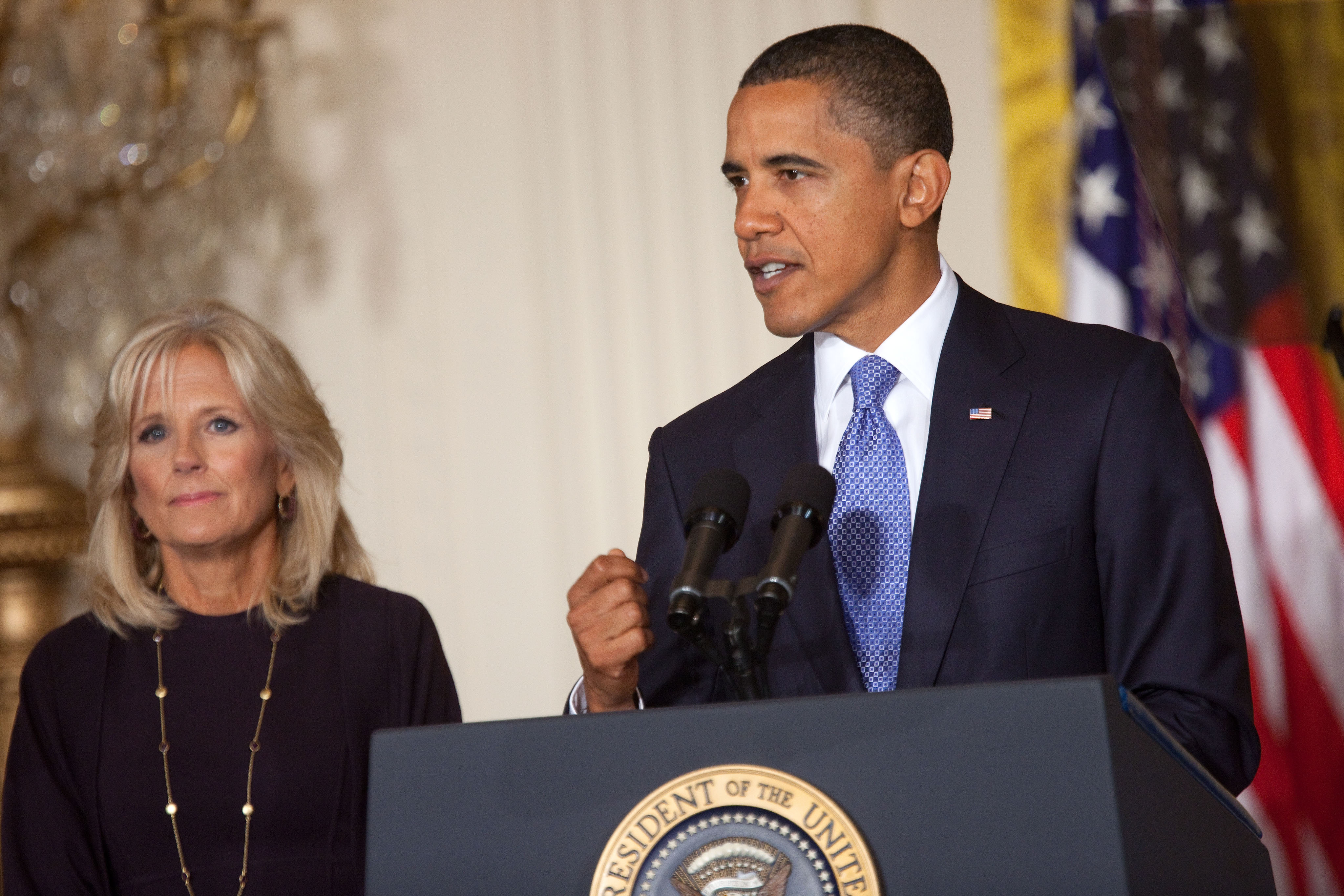 President Barack Obama and Dr. Jill Biden on Stage at Summit on Community Colleges